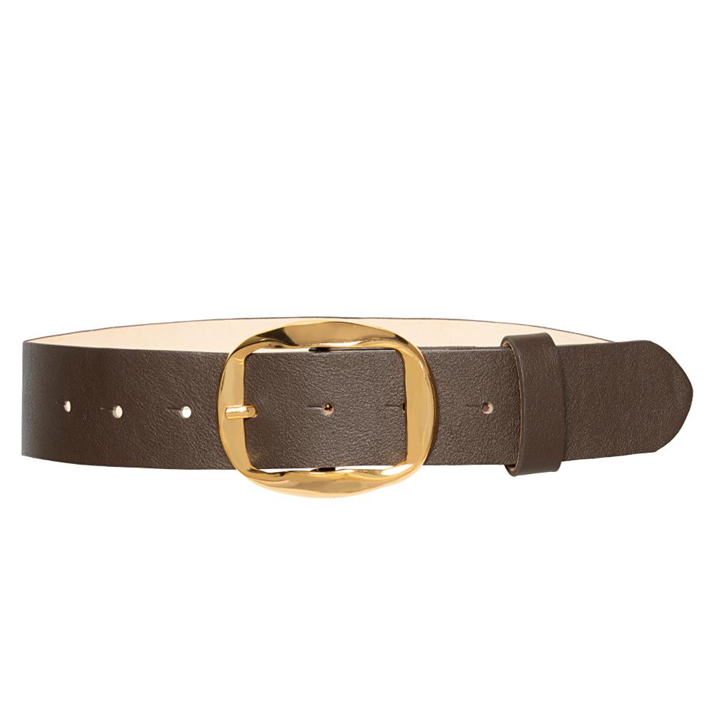 Cinto de Couro Marrom com Fivela Dourada - 4 cm - Linha Premium VC- Feminino
