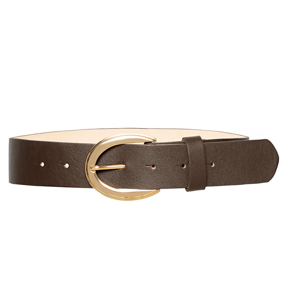 Cinto de Couro Marrom com Fivela Dourada - 4 cm - Linha Premium VC - Feminino