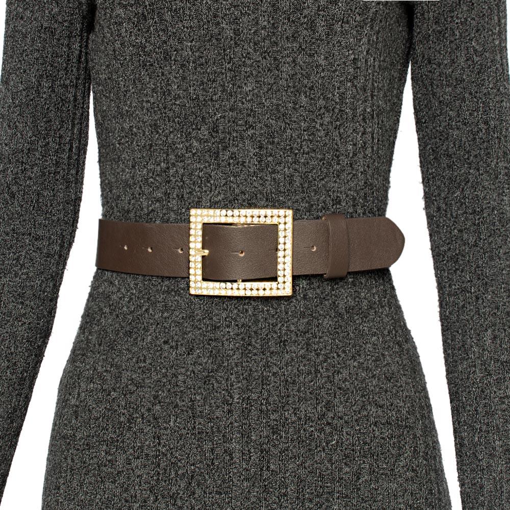 Cinto de Couro Marrom com Fivela Ouro com strass - 4 cm - Cintos Exclusivos - Feminino