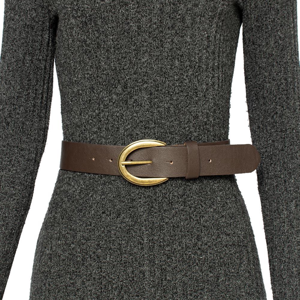 Cinto de Couro Marrom com Fivela Ouro Velho - 4 cm - Cintos Exclusivos - Feminino