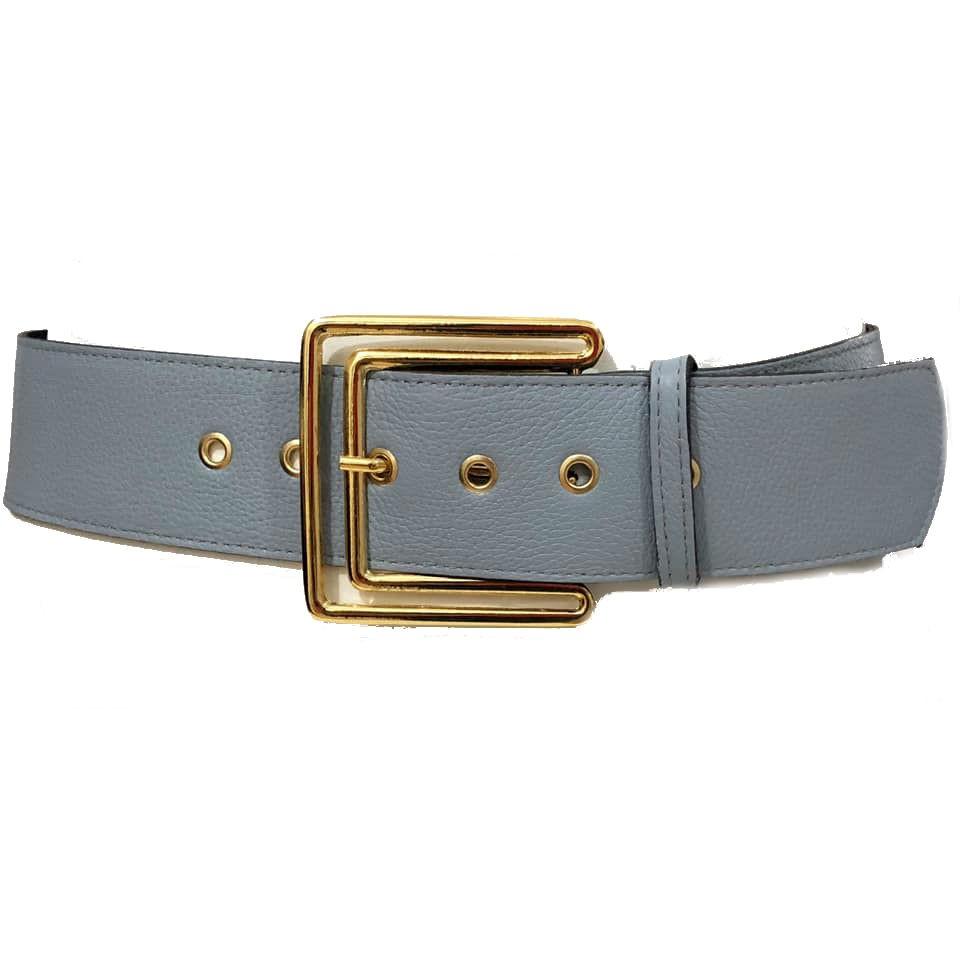 Cinto de Couro  Max Azul com fivela Dourada  - 5,5 - cm - Cintos Exclusivos - Feminino