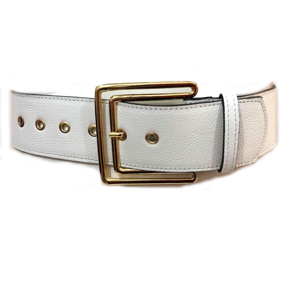 Promoção - Cinto de Couro  Max Branco com fivela Dourada  - 5,5 - cm - Cintos Exclusivos - Feminino