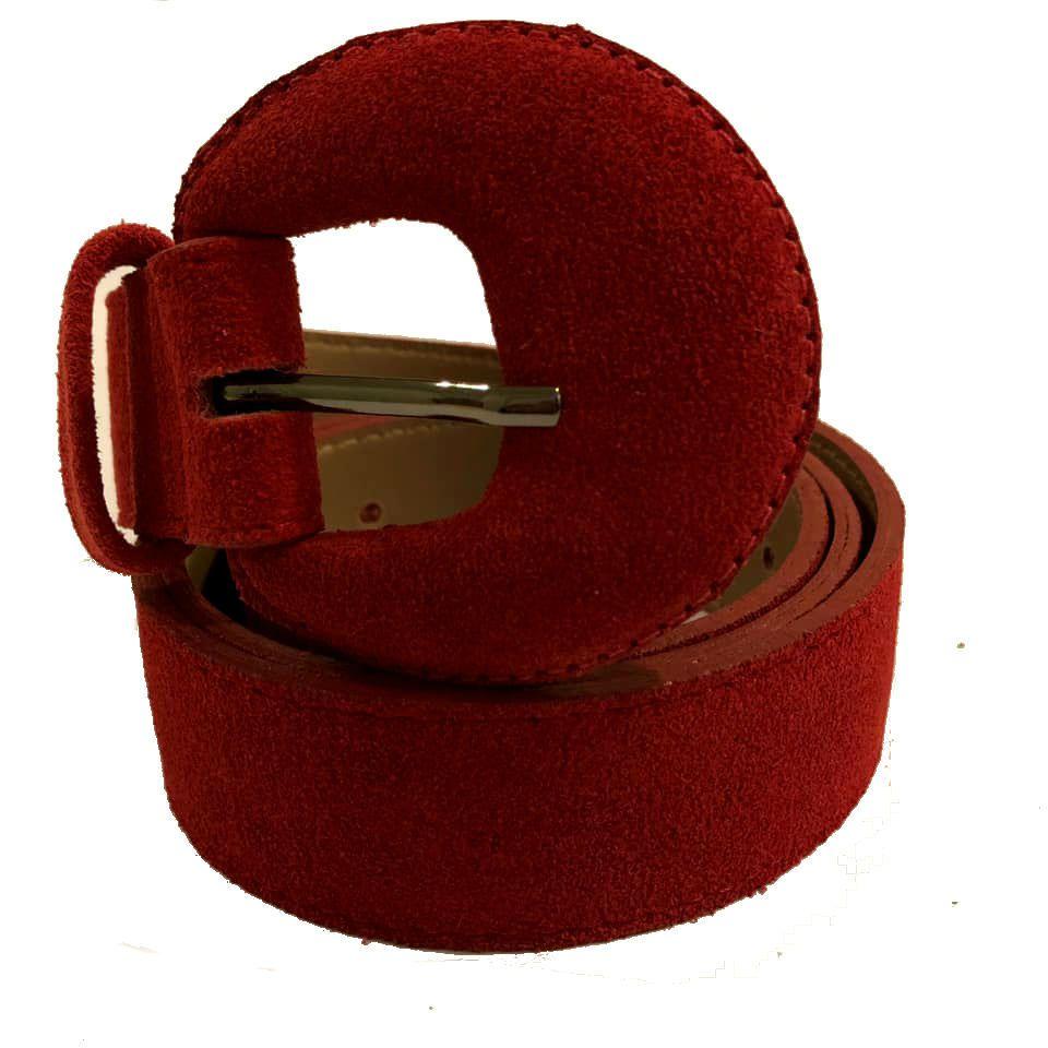 Cinto de Couro Meia Lua Camurça Vermelho Encapada - 3 cm -Cintos Exclusivos - Feminino