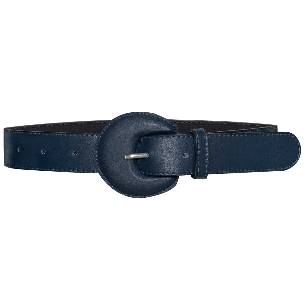 Cinto de Couro Meia Lua Couro Encapada Azul - 3 cm -Cintos Exclusivos - Feminino