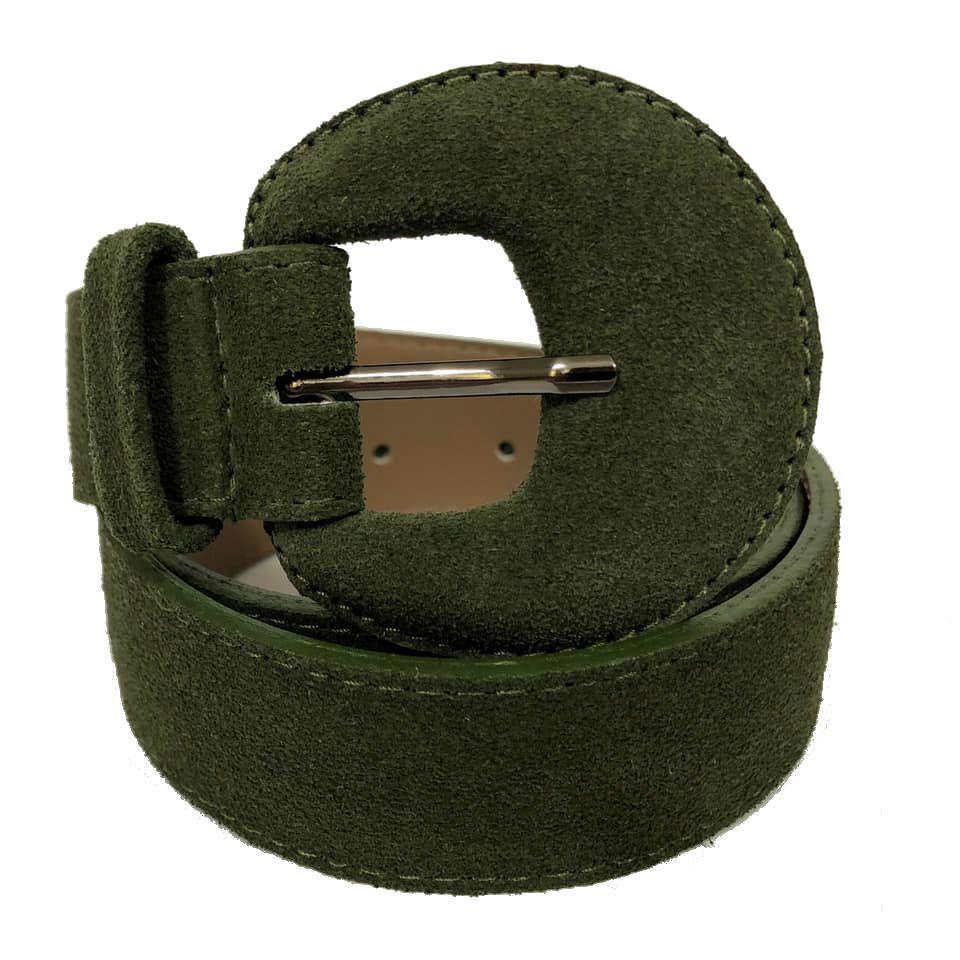 Cinto de Couro Meia Lua Verde Camurça - 3 cm -Cintos Exclusivos - Feminino