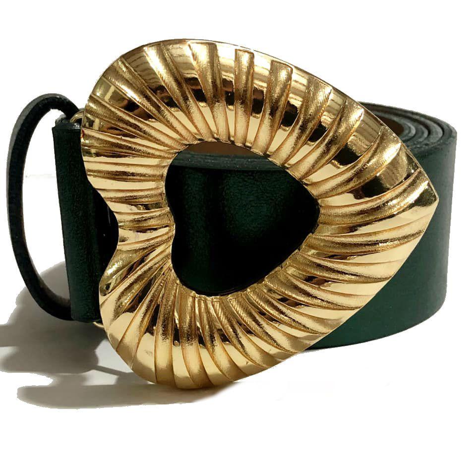 Cinto de Couro Verde Metalizado Coração com fivela dourada - 4,0 - cm - Feminino