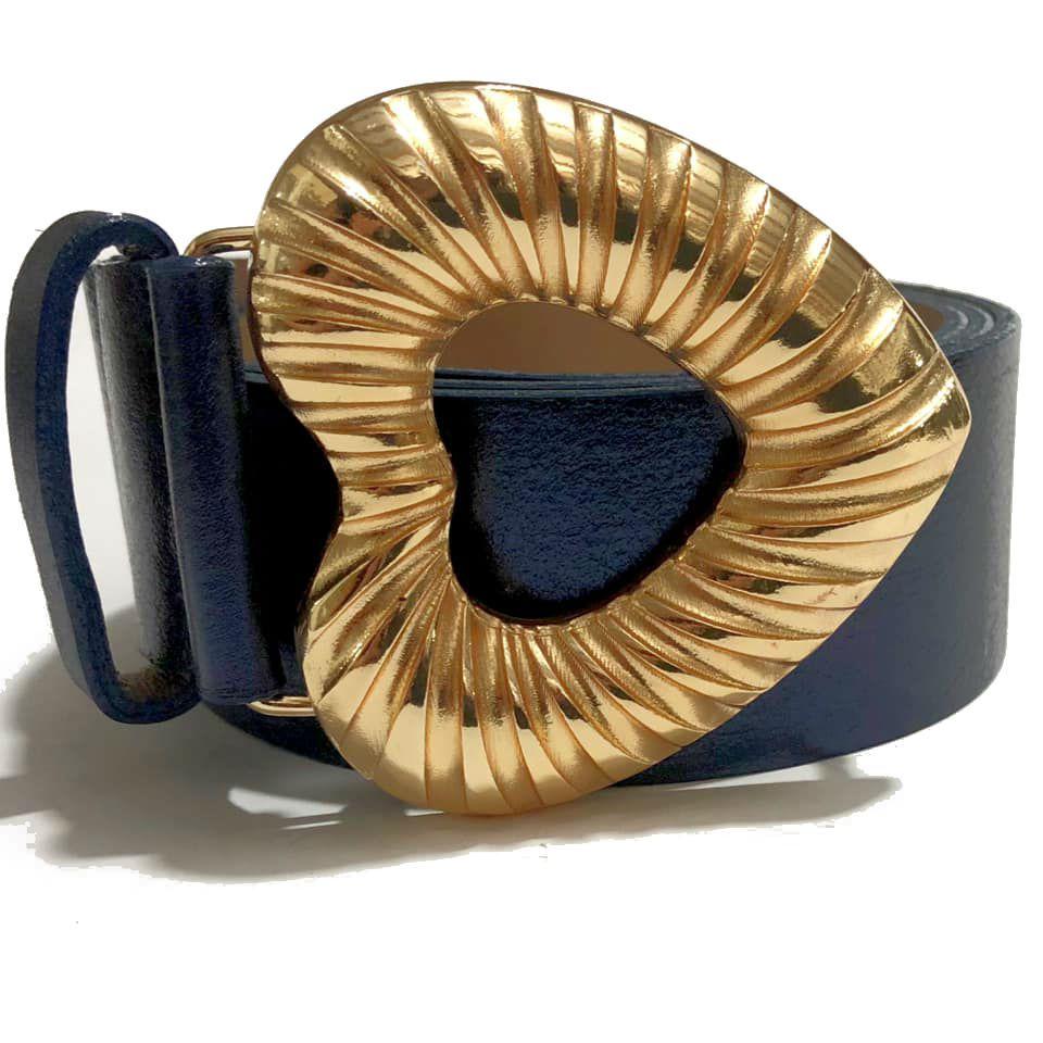 Cinto de Couro Azul Metalizado Coração com fivela dourada - 4,0 - cm - Feminino