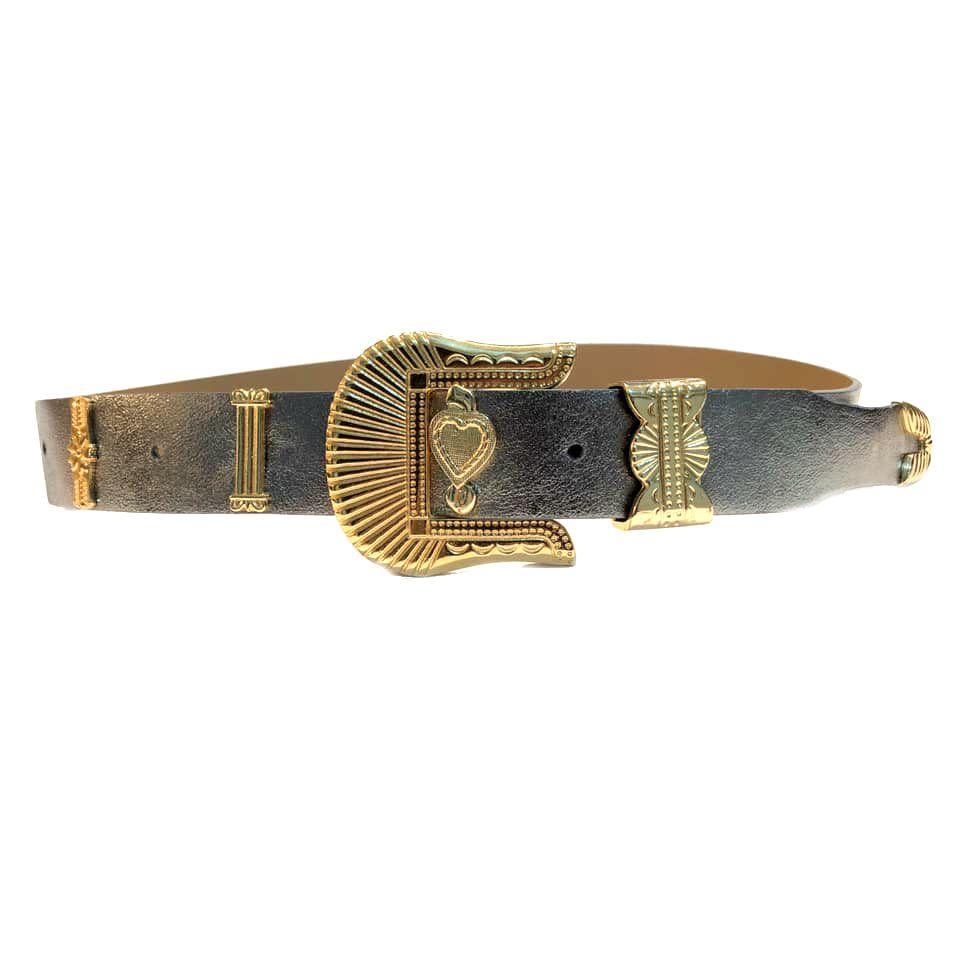 Cinto de Couro Metalizado Prata e Dourado com fivela e ponteira dourada  - 3,5 - cm