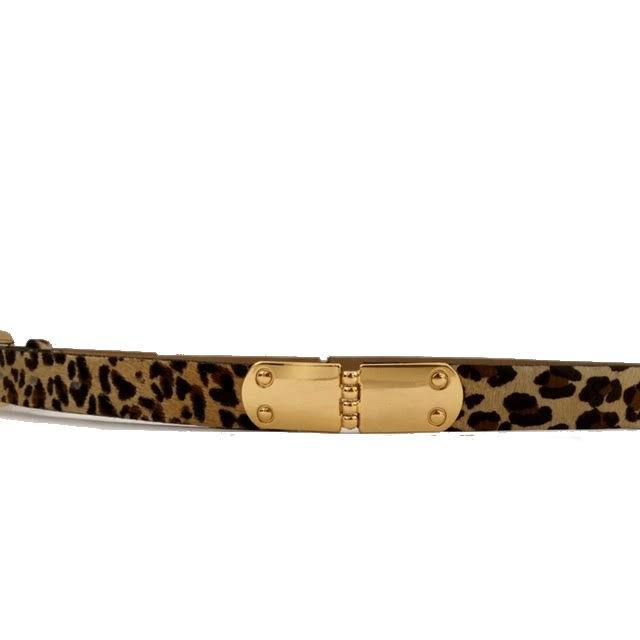 Cinto de Couro Animal Print Onça com Fivela  Dourada - 2,5 cm - Cintos Exclusivos - Feminino
