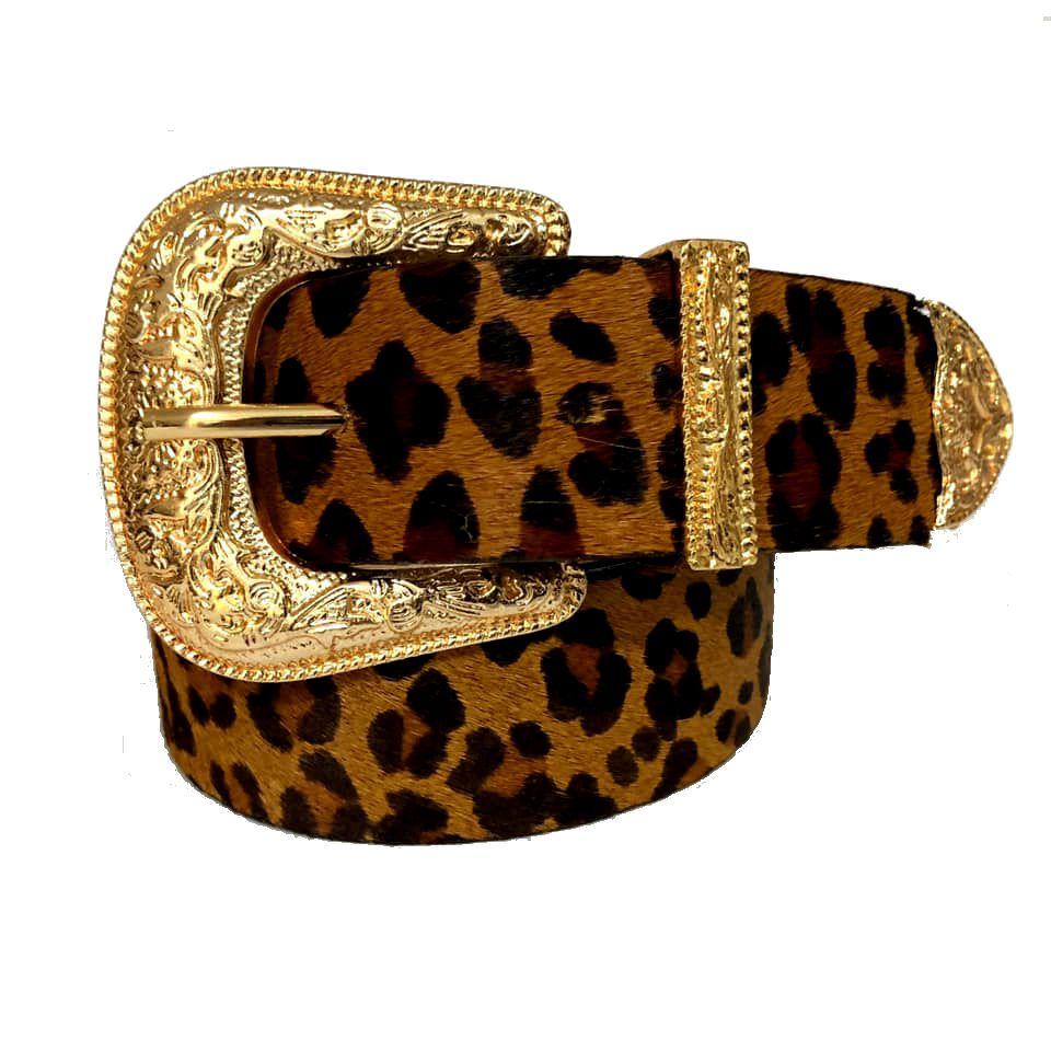 Cinto de Couro  Animal Print Onça com Uma Fivela e Ponteira Dourada  - 3,5 cm - Cintos Exclusivos - Feminino