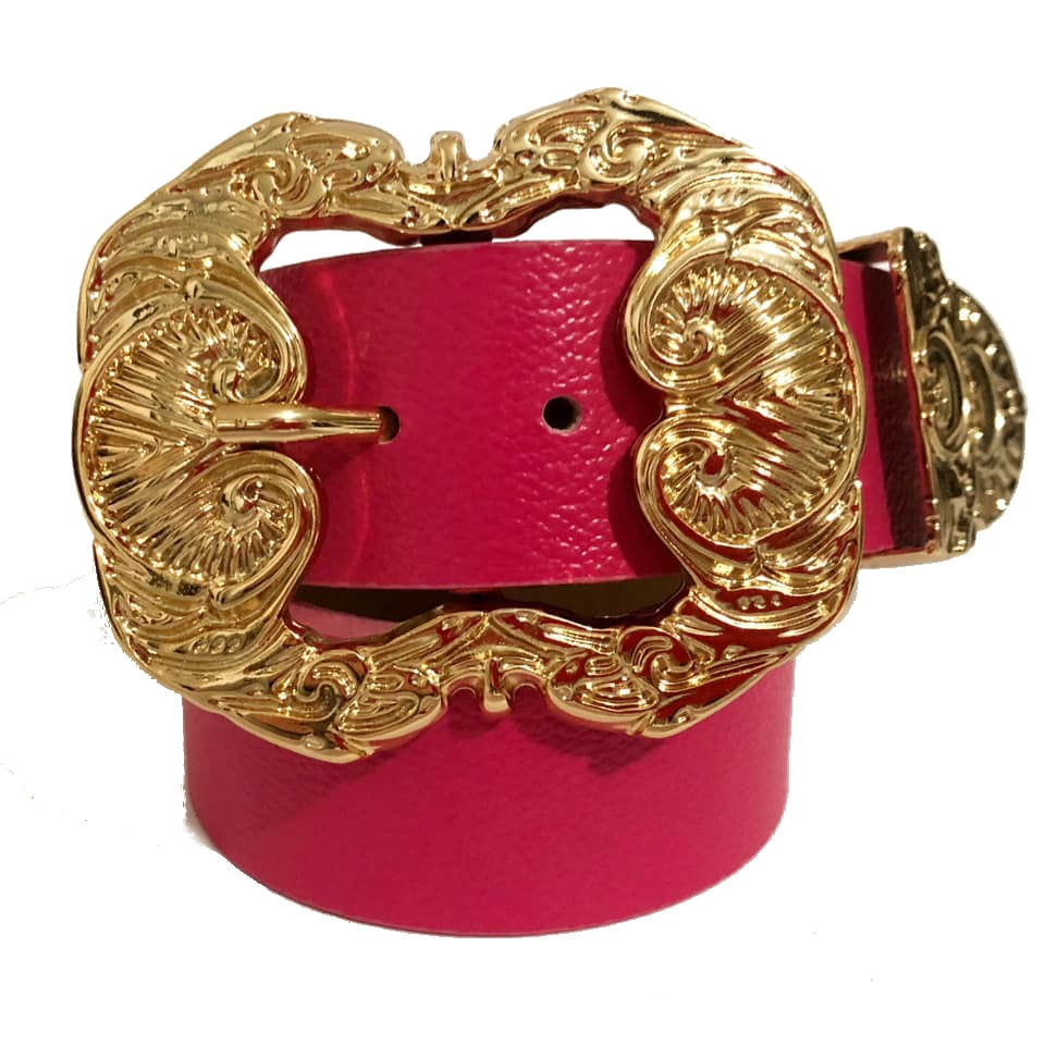 Cinto de Couro Pink  com fivela dourada Arabesco e ponteira - 4 cm - Feminino