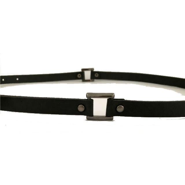 Cinto Fino de Couro Preto  - 1,5cm - Cintos Exclusivos - Feminino