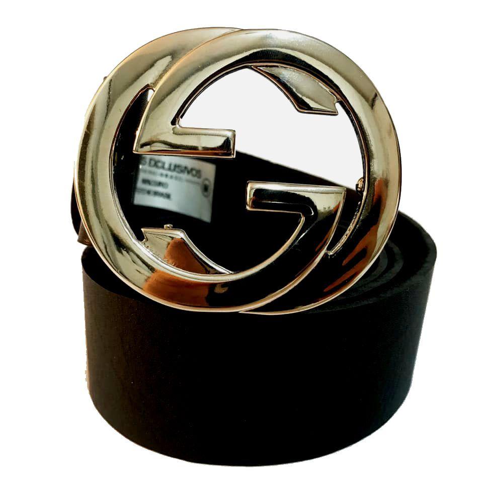 Cinto de Couro Preto com fivela Prata Inspired  - 4 cm - Cintos Exclusivos - Feminino