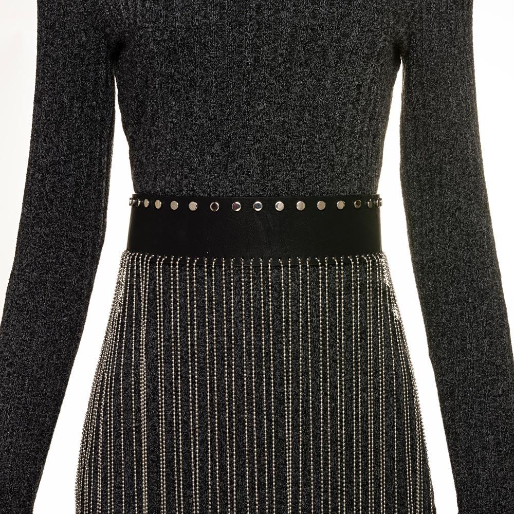 Cinto de Couro Preto Western com Correntes  - 6 cm - Cintos Exclusivos - Feminino