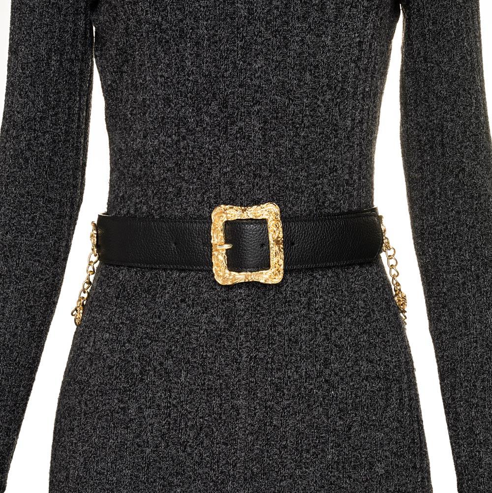 Cinto de Couro Preto com Detalhe em Corrente Fivela Dourada - 4,0cm - Feminino
