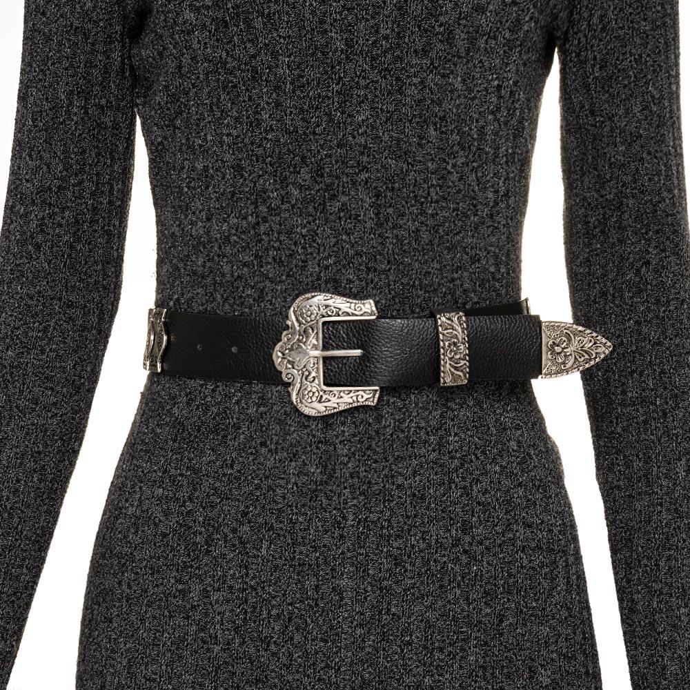 Cinto de Couro Preto com detalhe fivela e ponteira prata para cintura alta arabesco   - 4,0- cm
