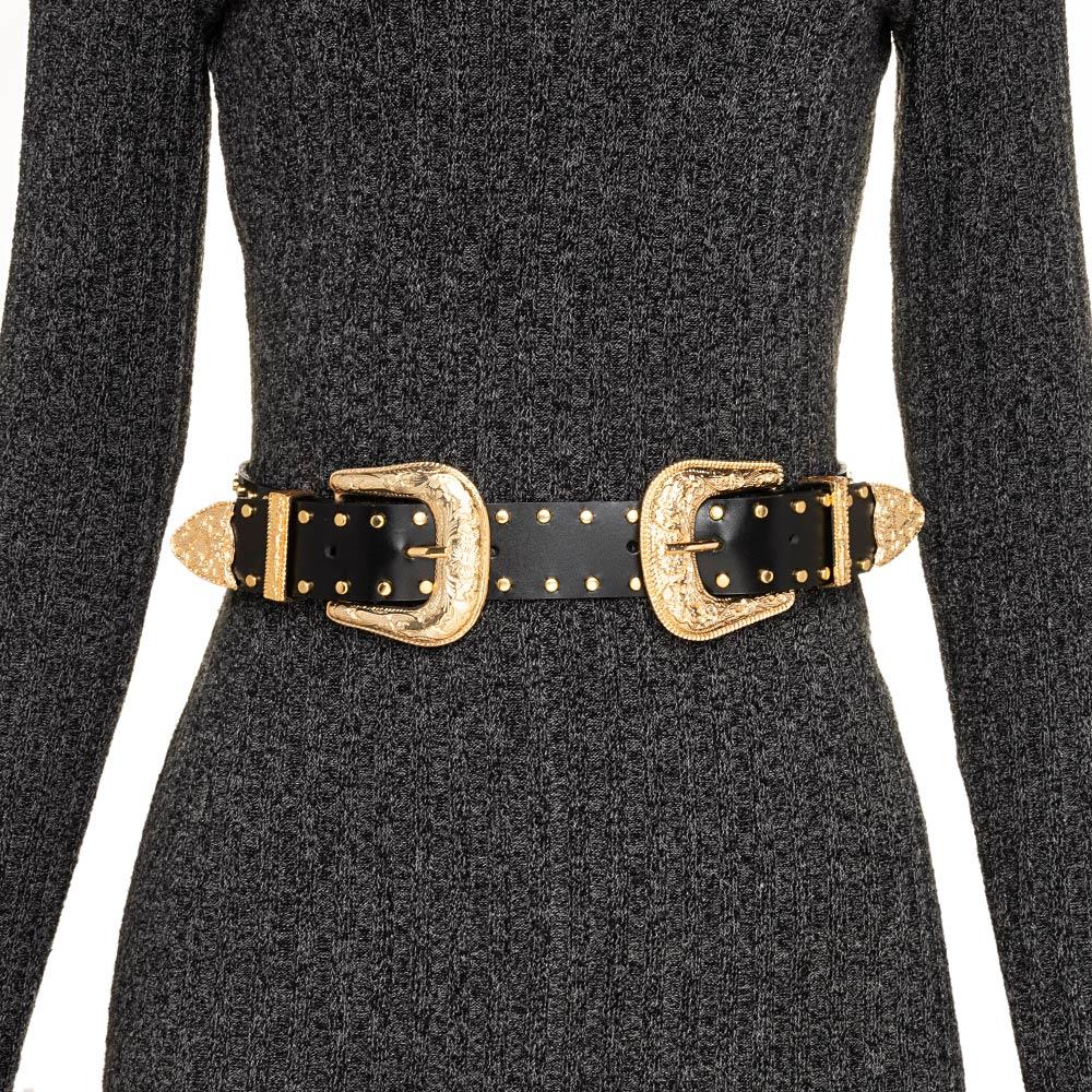 Cinto de Couro Preto com Duas Fivelas Douradas  com tachas Western  - 3,5 cm - Cintos Exclusivos - Feminino