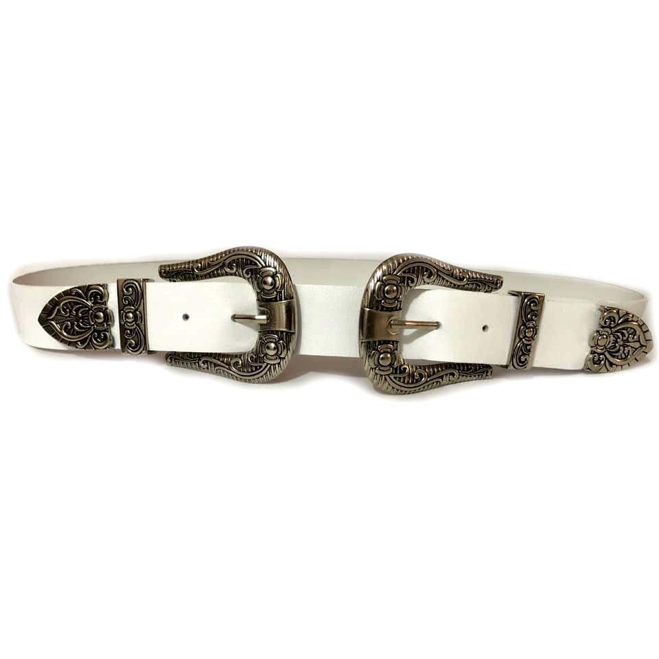 Cinto de Couro Preto com Duas Fivelas Pratas  - 3,5 cm - Cintos Exclusivos - Feminino