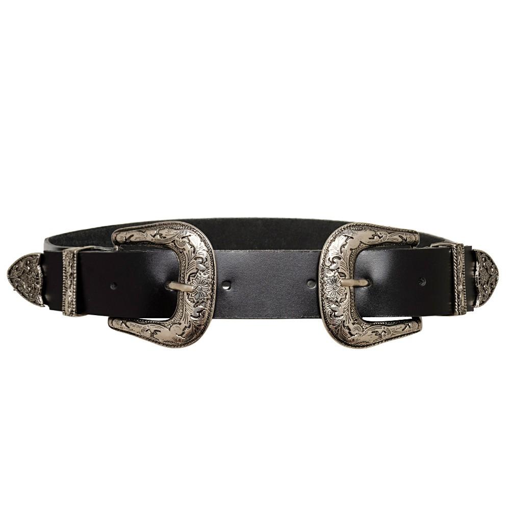 Cinto de Couro Preto com Duas Fivelas Pratas Western - 3,5 cm - Linha Premium VC- Feminino