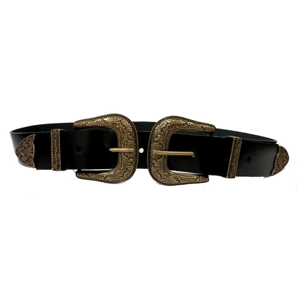 Cinto de Couro Preto com Duas Fivelas Ouro Velho Western  - 3,5 cm - Cintos Exclusivos - Feminino