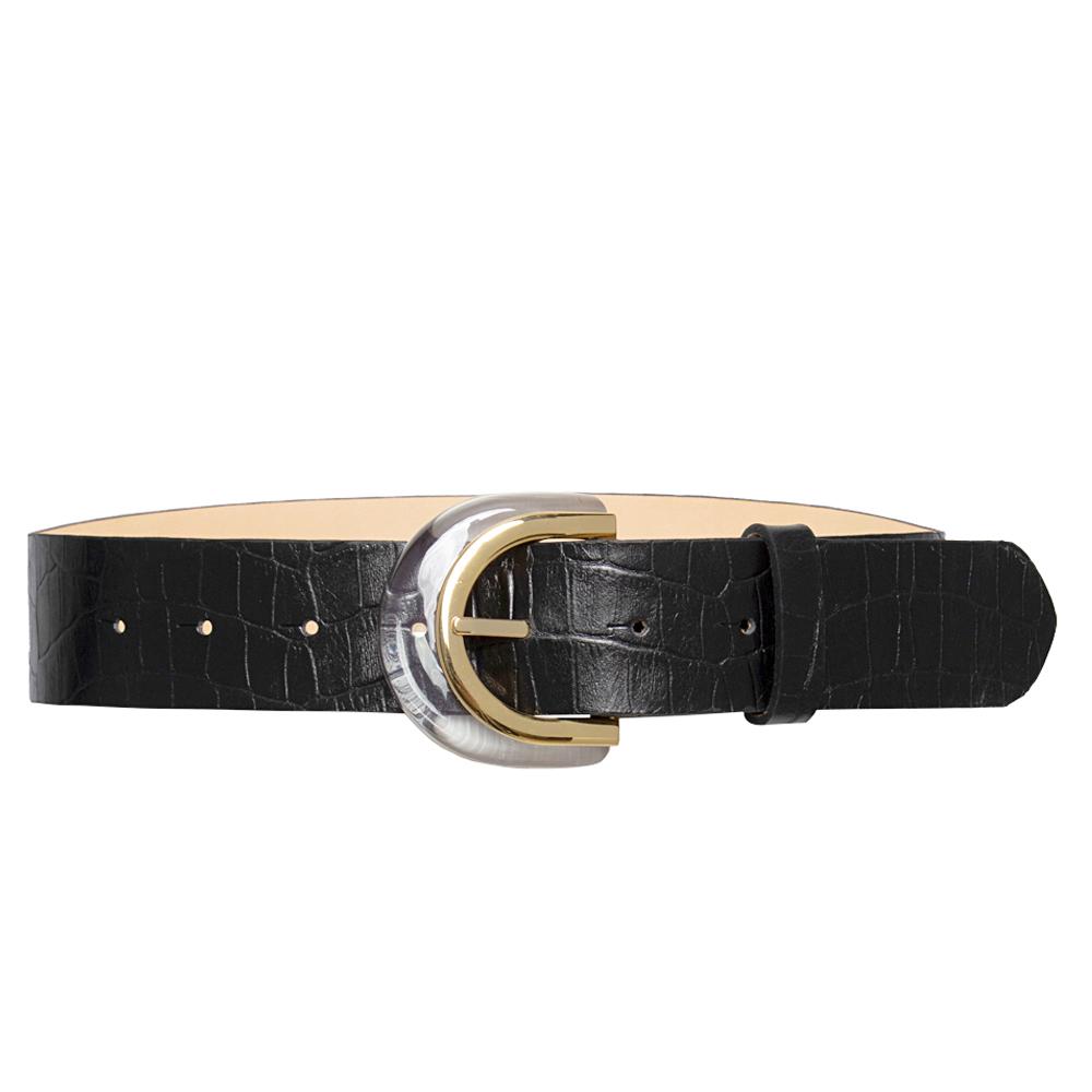 Cinto  de Couro Croco Preto  com Fivela de Acrílico  - 4 cm - Linha Premium VC - Feminino