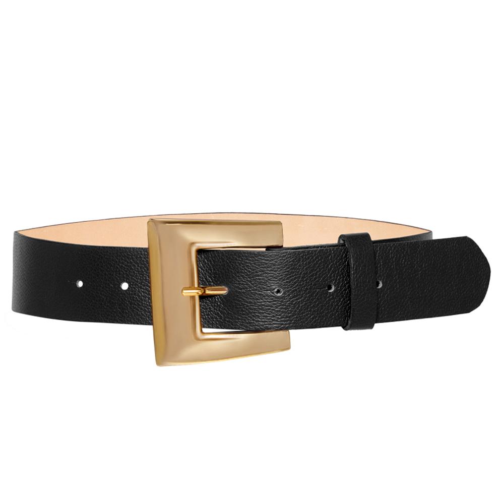 Cinto de Couro Preto com Fivela Dourada - 4 cm - Feminino -   Linha Premium VC