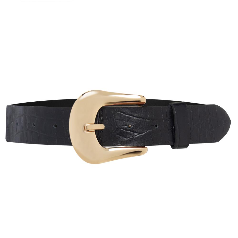 Cinto de Couro  Preto com Fivela dourada - 4cm - Linha Premium VC - Feminino