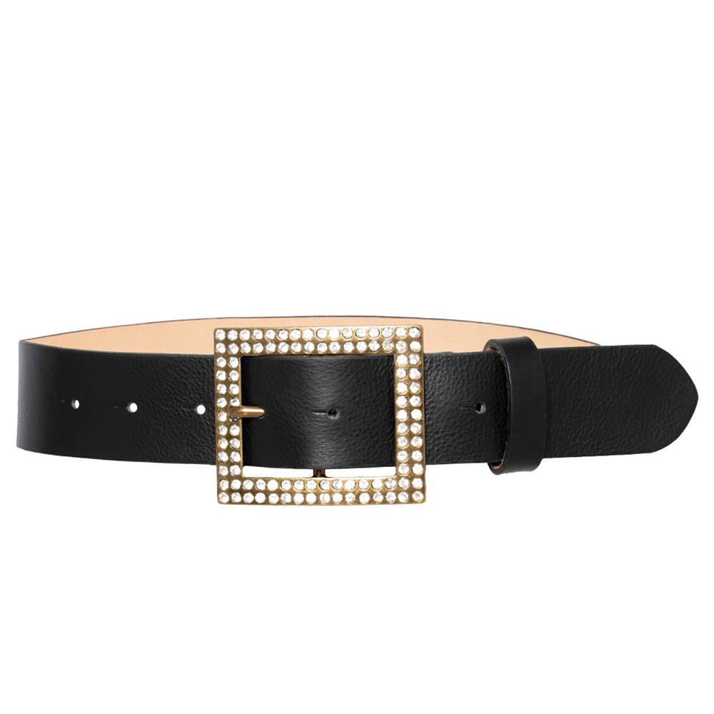 Cinto de Couro Preto com Fivela Dourada com strass - 4 cm - Cintos Exclusivos VC- Feminino