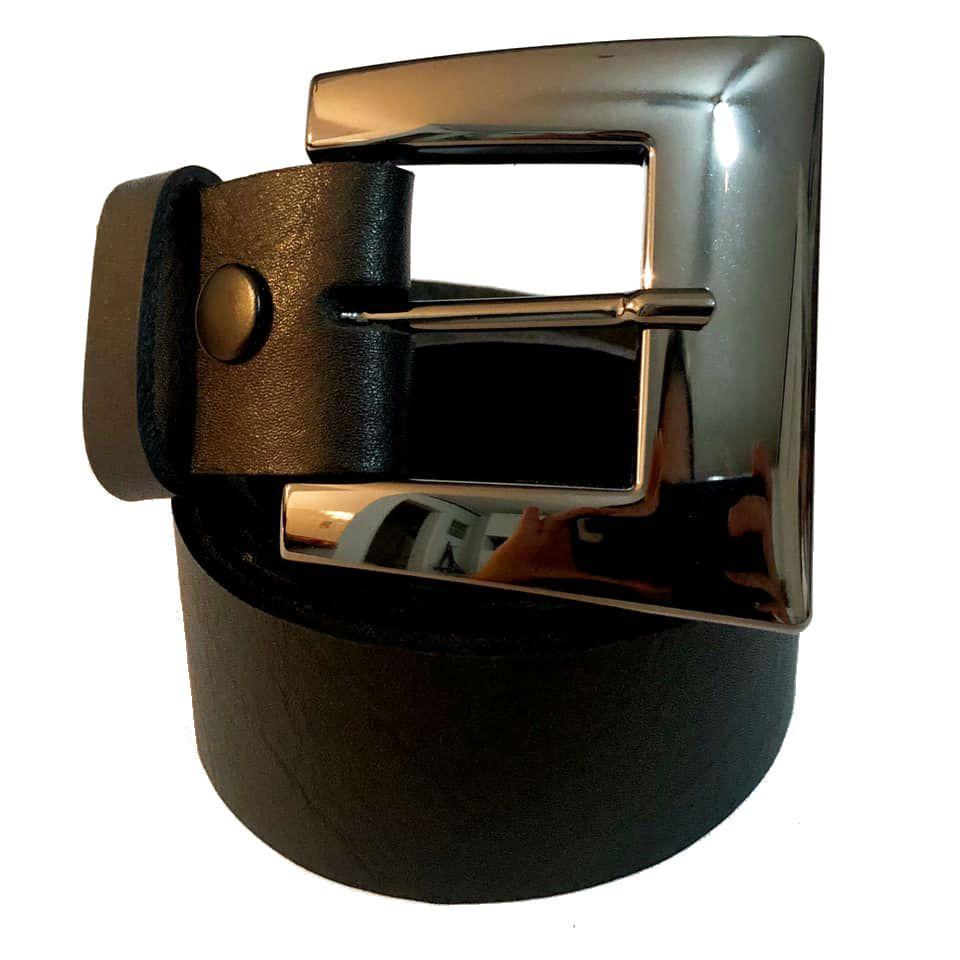 Cinto de Couro Preto com Fivela Ônix - 4 cm - Cintos Exclusivos VC- Feminino