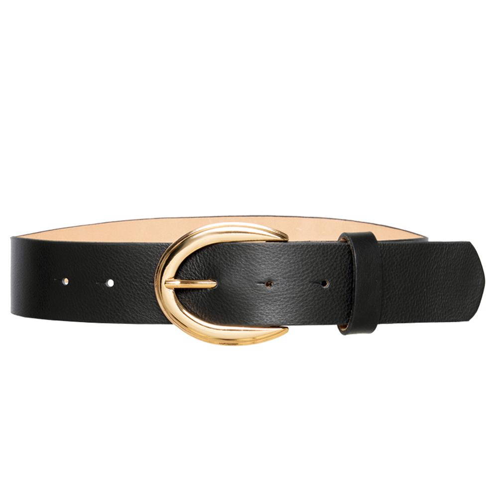 Cinto de Couro Preto com Fivela  Ouro  - 4 cm - Feminino -   Linha Premium VC