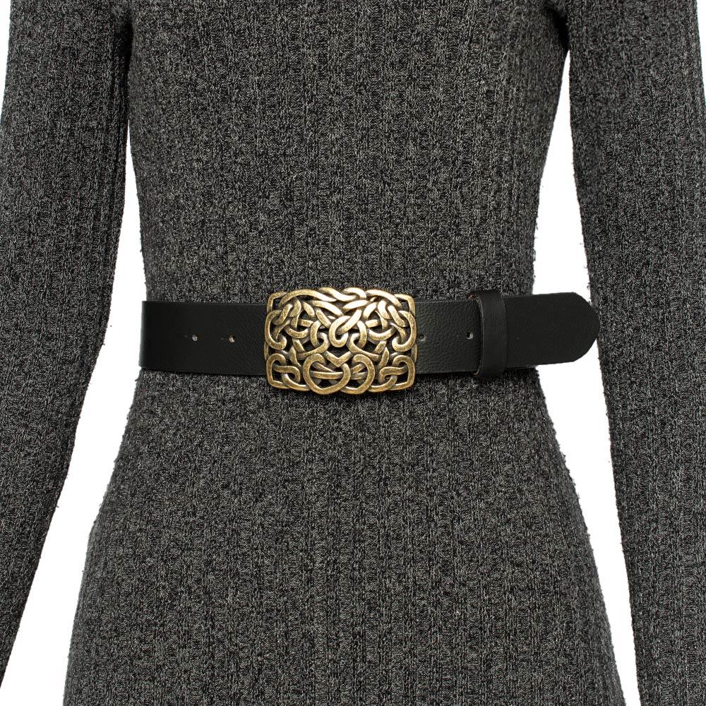 Cinto de Couro Preto com Fivela Ouro Velho- 4 cm - Cintos Exclusivos VC- Feminino
