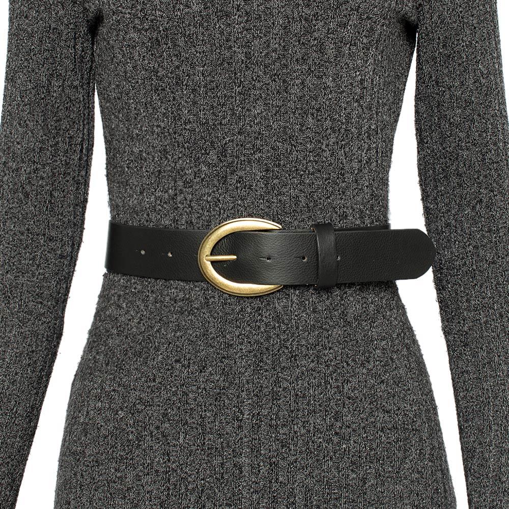 Cinto de Couro Preto com Fivela Ouro Velho  - 4 cm - Cintos Exclusivos VC - Feminino