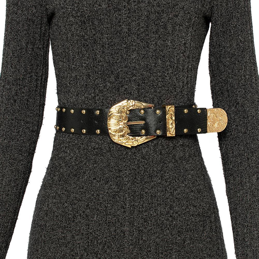 Cinto de Couro Preto com  tachas  - 4,0 cm - Cintos Exclusivos - Feminino