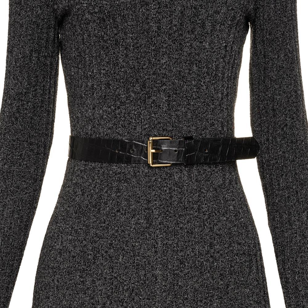 Cinto de Couro Preto Croco com Fivela  Dourada - 3 cm - Cintos Exclusivos - Feminino