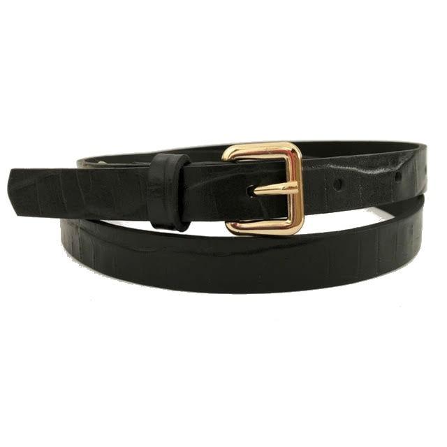 Cinto de Couro  Preto Croco Fino - 1,5cm - Cintos Exclusivos - Feminino