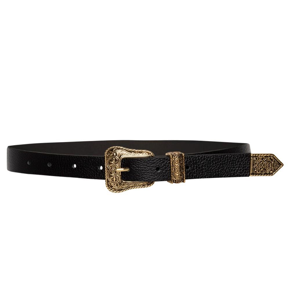 Cinto de Couro Preto Fino com Passante e  Ponteira Dourada - 2cm - Cintos Exclusivos VC- Feminino
