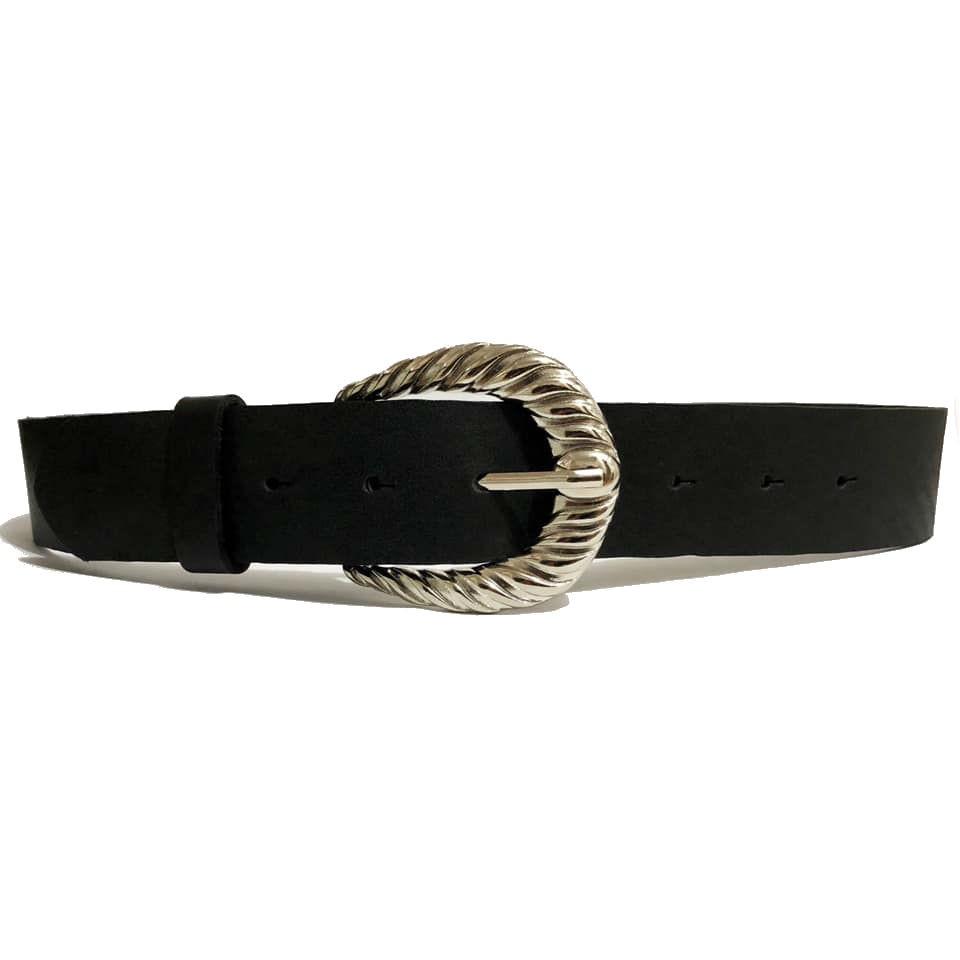 Cinto de Couro Preto Liso com Fivela Prata Arabesco  - 4 cm - Cintos Exclusivos - Feminino