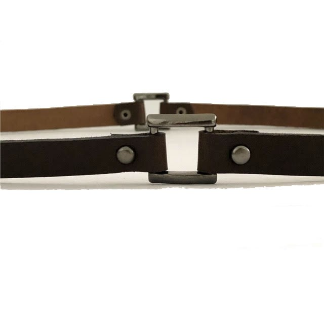 Cinto Fino de Couro  Marrom - 1,5cm - Cintos Exclusivos - Feminino