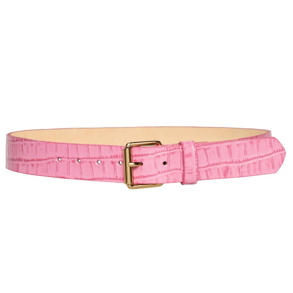 Cinto de Couro Rosa Croco  com Fivela Simples Dourada - 3cm-  Cintos Exclusivos - Feminino