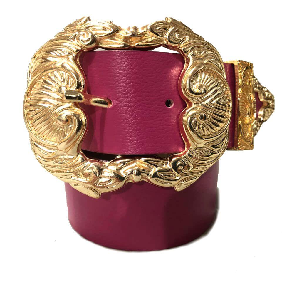 Cinto de Couro Rosa Pink  com fivela dourada Arabesco  e ponteira - 4 cm - Feminino