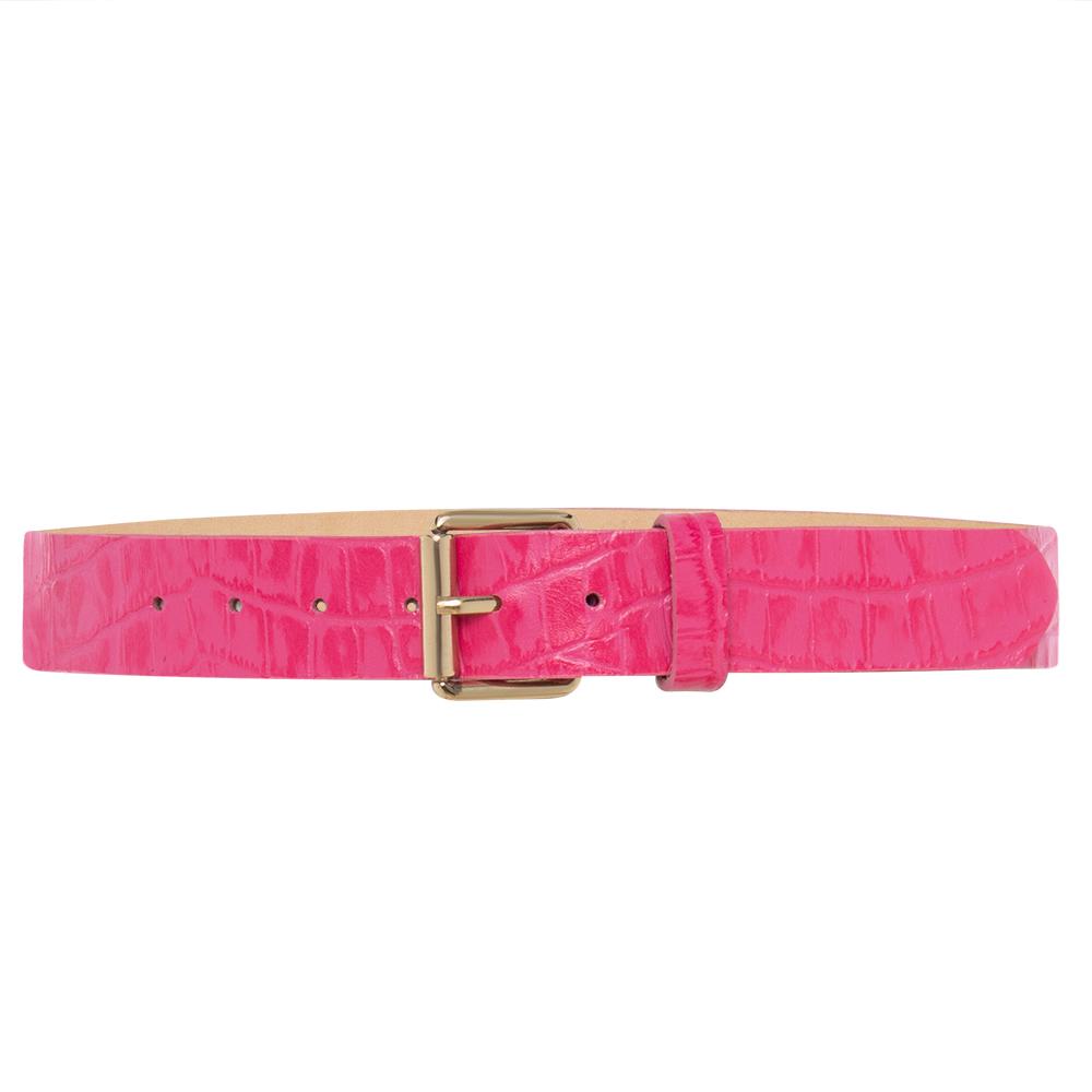 Cinto de Couro Rosa Pink com Fivela Simples Dourada - 3cm-  Cintos Exclusivos - Feminino
