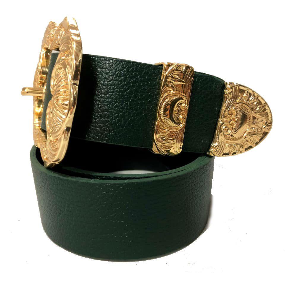 Cinto de Couro Verde com fivela Arabesco dourada e ponteira - 3,5 cm - Feminino