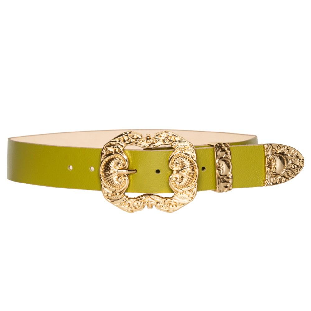 Cinto de Couro Verde Pistache  com fivela dourada Arabesco e ponteira - 4 cm - Linha Premium VC-  Feminino