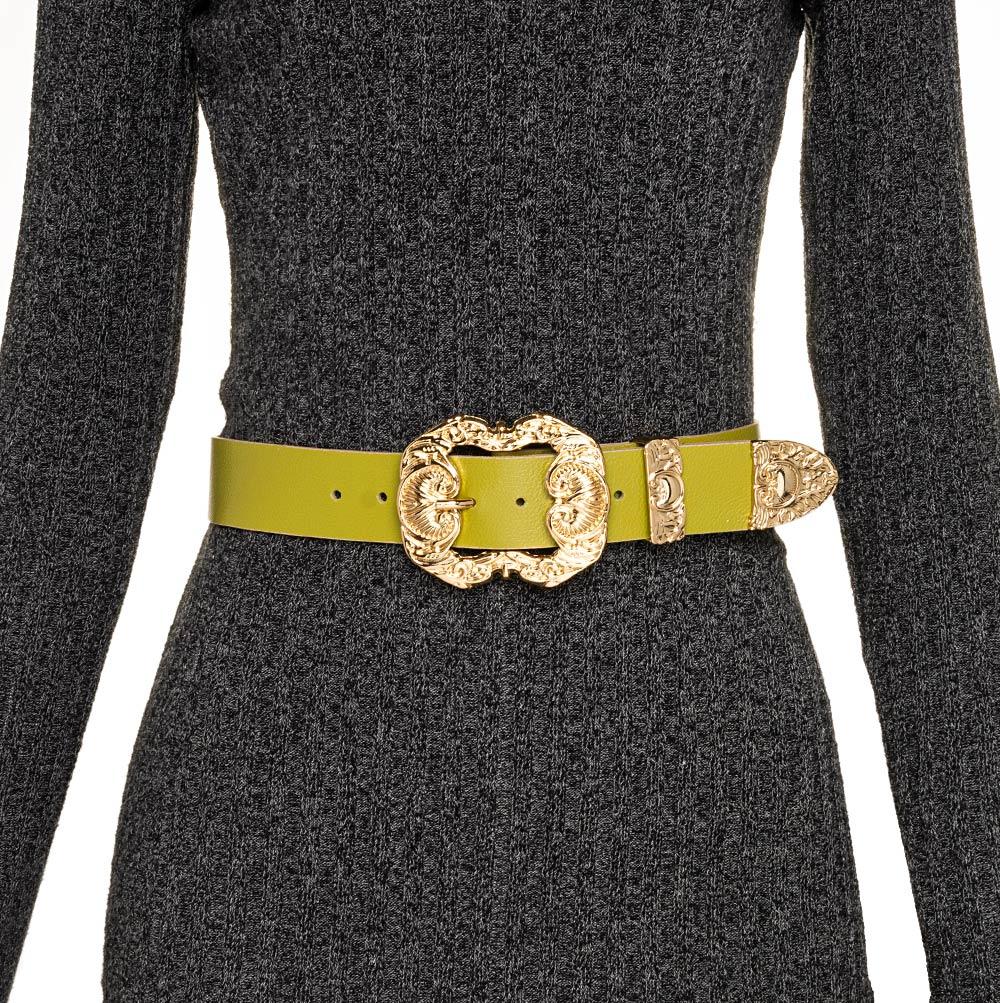 Cinto de Couro Verde Pistache  com fivela dourada Arabesco e ponteira - 4 cm - Feminino