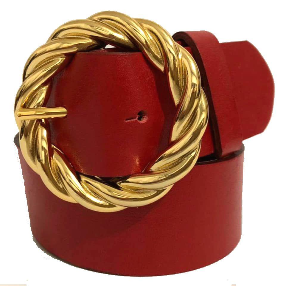 Cinto de Couro Vermelho - 4cm - Cintos Exclusivos - Feminino