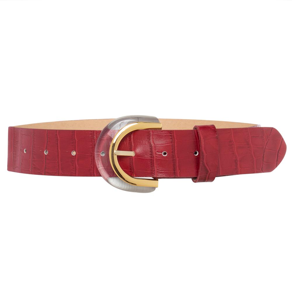 Cinto  de Couro Croco Vermelho  com Fivela de Acrílico  - 4 cm - Linha Premium VC - Feminino