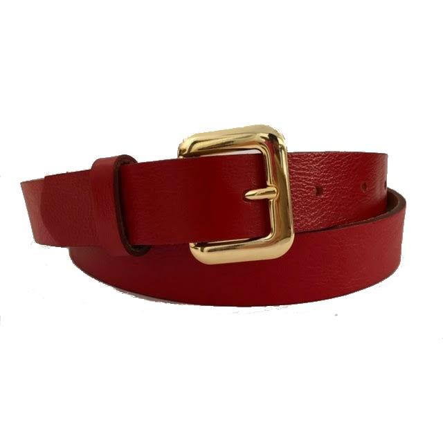 Cinto de Couro Vermelho com Fivela  Dourada - 2,5 cm - Cintos Exclusivos - Feminino