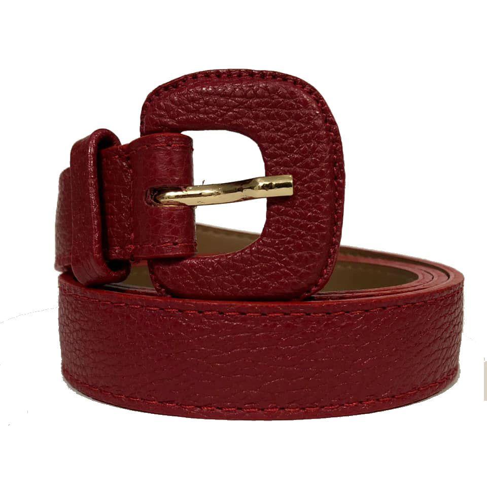Cinto de Couro Vermelho Fino  2,5cm - Cintos Exclusivos - Feminino