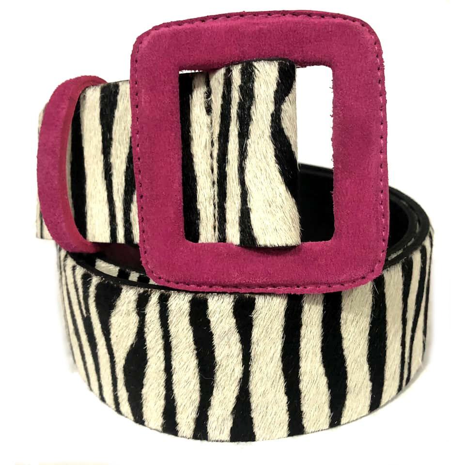 Cinto de Couro  Animal Print Zebra com Fivela Rosa  - 5,0 cm - Cintos Exclusivos - Feminino