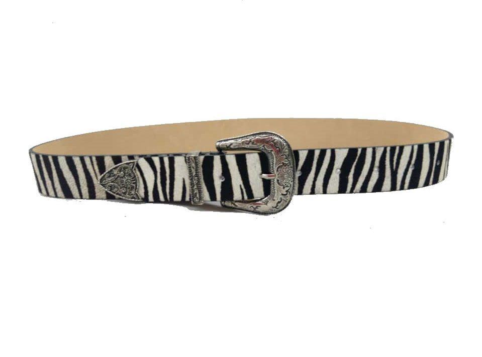 Cinto de Couro  Animal Print Zebra com  Fivela e Ponteira Prata  - 3,5 cm - Cintos Exclusivos - Feminino